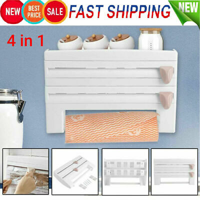 £8.99 • Buy 4 In 1 Kitchen Roll Dispenser Cling Film Tin Foil Wall Mounted Towel Holder Rack