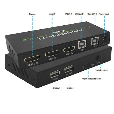 AU41.31 • Buy HDMI Dual-port KVM Switch Switcher USB 4KX2K 2 In 1 60Hz Top Digital AU!