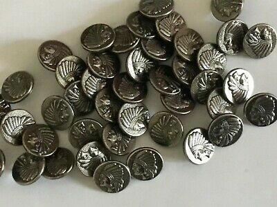 10 Pewter Colour Metal Indian Head 15mm Shank Back GQ Buttons (B119D)  • 2£