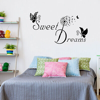Wall Stickers Butterfly LOVE Quote Removable Decals DIY SWEET DREAMS Bedroom RY • 5.68£