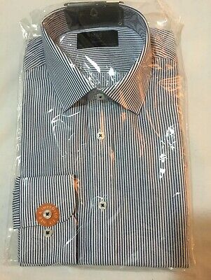 """£8.99 • Buy M&S MEN'S REGULAR FIT EASY TO IRON STRIPED SHIRT IN NAVY Mix Size 15"""" 38cm"""