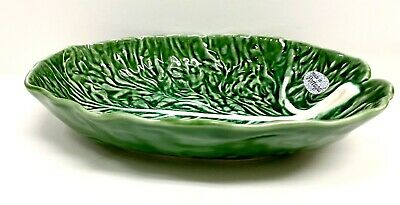 Olfaire Pottery Green Cabbage Leaf Bowl With White Veins Made In Portugal • 63.67£