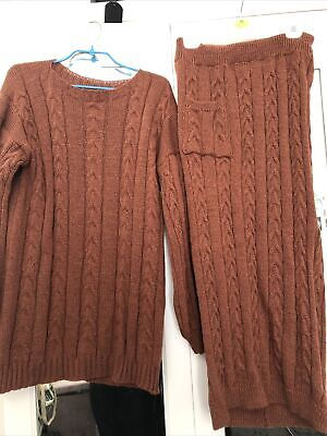 £13 • Buy Cable Knit Co Ord , Skirt And Jumper , Rustic Brown , Will Fit S And M