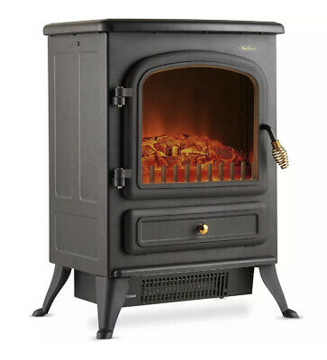 £54.99 • Buy 1850W Small Black Portable Electric Stove Heater Log Burning Effect Fireplace