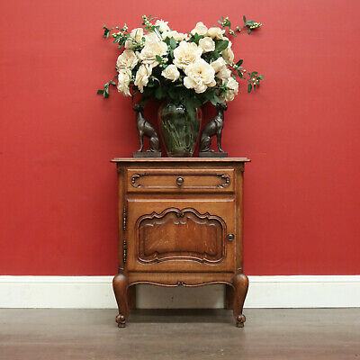 AU450 • Buy Bedside Cabinet, Vintage French Oak Lamp Side Table With Drawer Cupboard Storage
