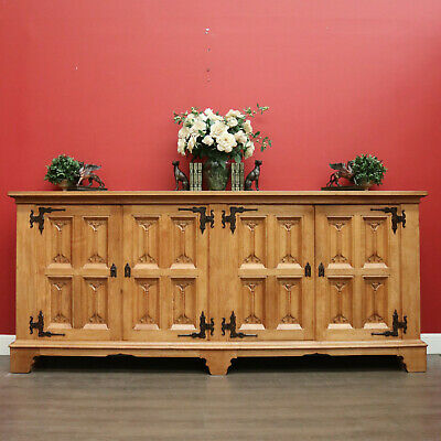 AU2400 • Buy Antique French 4 Door Sideboard Buffet Cabinet Cupboard With Carved Fleur De Lis