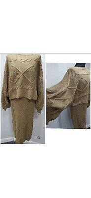 £11.49 • Buy Cable Knit Skirt Batwing Jumper Co Ord Set - Camel - One Size