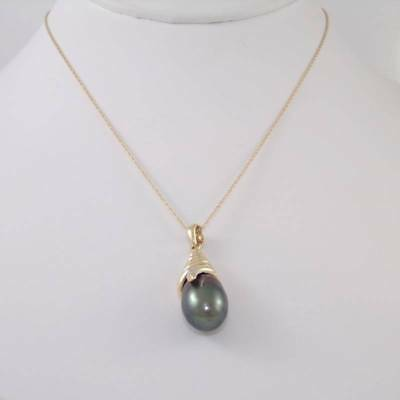 $249.99 • Buy Solid 14K Yellow Gold Conch Shell Mabe Pearl Natural Diamond Necklace 18  GEJ