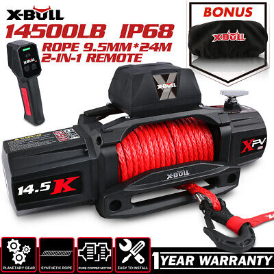 AU499 • Buy X-BULL Electric Winch 12V Synthetic Rope Wireless 14500LB Remote 4X4 4WD Boat