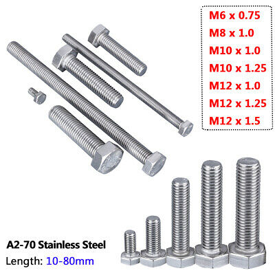 $7.29 • Buy Fine Thread Hex Head Screws Hex Bolts M6 M8 M10 M12 Fully Threaded A2 Stainless