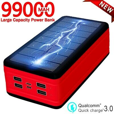 AU59.23 • Buy 99000mAh Solar Power Bank Large Capacity Portable Charger LED Waterproof