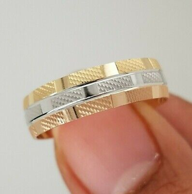 $149 • Buy 14k Yellow Gold 6 Mm Diamond Cut Men's Wedding Band Ring Size 9 To 13 Tri Color