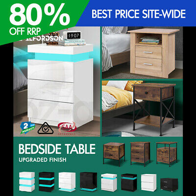 AU114.95 • Buy ALFORDSON Bedside Table RGB LED Nightstand 2/3 Drawers Side Table Storage
