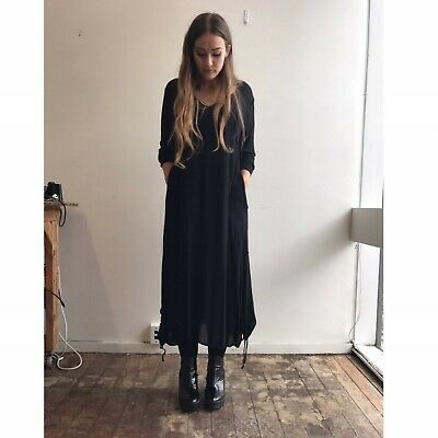 AU149.99 • Buy LOST & LED ASTRAY LALA NZ Black Rouched Hem Design Drapey Long Dress-16 $380 NEW