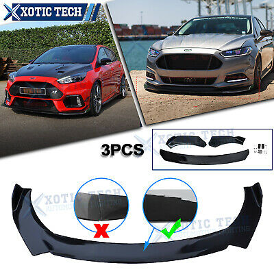$109.98 • Buy 3PC Black Front Bumper Protector Body Splitter Spoiler Lip For Ford Fusion Focus
