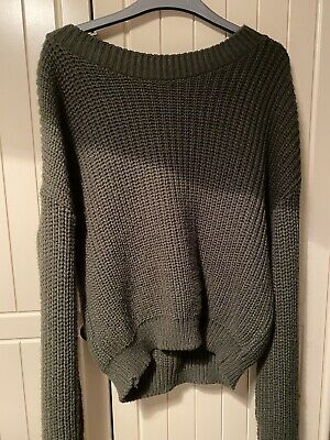 Pretty Little Thing Size 6 Khaki/green Knitted Thick Slouchy Comfy Cozy Jumper • 7£
