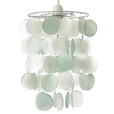 £16.99 • Buy Two Tiered Capiz Shell Easy Fit Light Shade In Duck Egg Clearance Litecraft