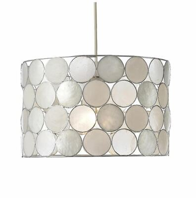 £26.99 • Buy Easy Fit Capiz Glass Circular Drum Light Shade In Natural Clearance Litecraft