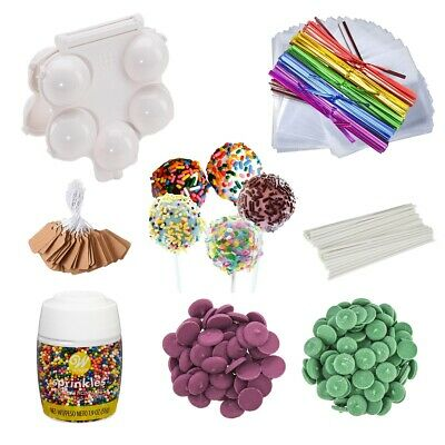 Cake Pop Mold W/25 Sticks Bags Ties Tags, Green & Purple Candy Melts & Sprinkles • 21.44£