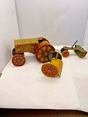 AU156.25 • Buy 1930s Louis Marx & Co AMERICAN TRACTOR Wind Up Tractor & Implements