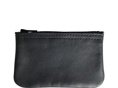 $8.49 • Buy New Mens Or Womens Black Leather Zippered Coin Pouch / Purse / Change U.S.A