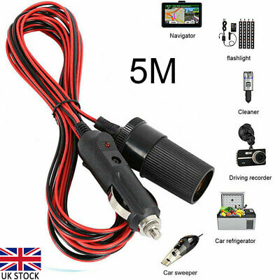 £5.88 • Buy 5M 12V Car Cigarette Cigar Lighter Extension Cable Adapter Socket Charger Cord