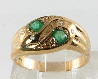 £359 • Buy  DIVINE 9CT 9K GOLD COLOMBIAN EMERALD DIAMOND SNAKE ART DECO INS RING Size O