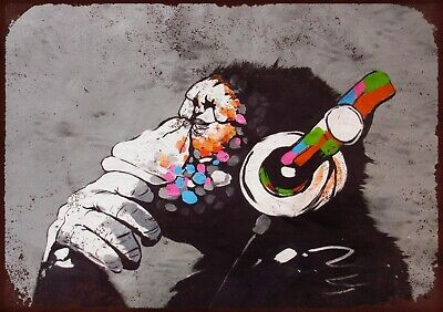 """£7.25 • Buy APE HEADPHONES BANKSY STYLE 7.5 X10.5"""" VINTAGE STYLE METAL AD SIGN WALL PLAQUE"""