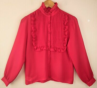 £18.95 • Buy 80s 90s Vintage Blouse Shirt 10 High Necked Edwardian Style See-Through Top