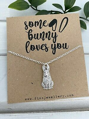£3.99 • Buy Some Bunny Loves You Rabbit Silver Plated Necklace Message Card Quote Gift