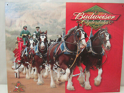 $ CDN19.24 • Buy Vintage Budweiser Beer Metal Famous Clydesdale Horses Classic Bud Bar Sign