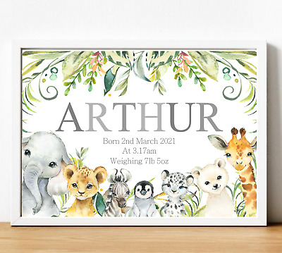 £4.99 • Buy Animals Personalised Name Nursery Print Wall Art Poster Baby Boy Birth Details