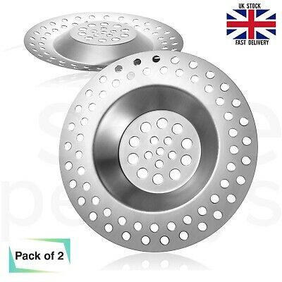 £2.59 • Buy 2x Stainless Steel Kitchen Sink Strainer Plug Waste Drain Protector Hair Trap UK
