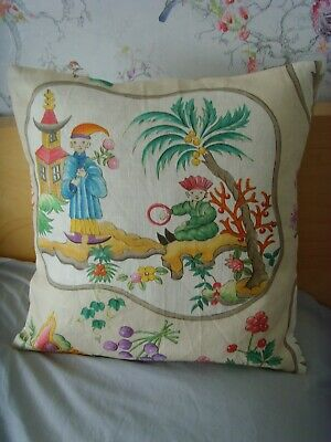 £8.99 • Buy MADE In ORIENTAL PAGODA SCENE COTTON CREAM MULTI  CUSHION COVER FITS 18in Pad