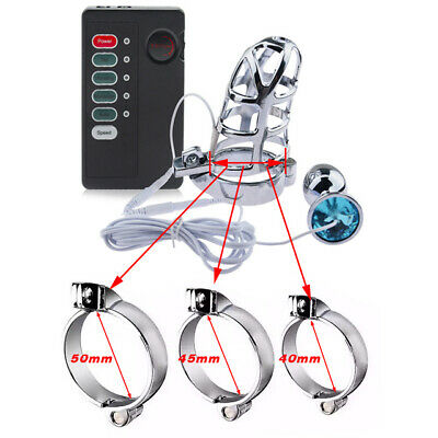 £22.99 • Buy NEW Electro Shock Chastity Cock Cage Device+Metal Plug Electric Stimulation Cage