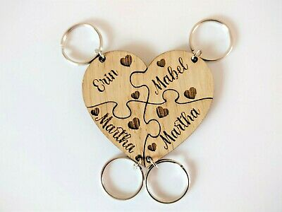 £6.99 • Buy Wooden Heart Shaped Keyring Personalised Puzzle, Family Jigsaw Gift Keyrings.