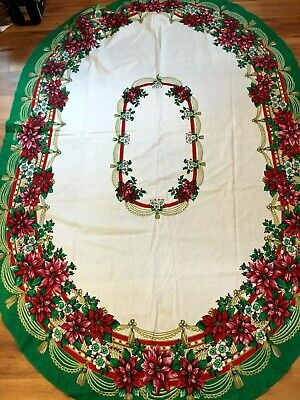 $ CDN30.33 • Buy Vintage Oval Christmas Tablecloth Red Green Gold Poinsettia Holiday