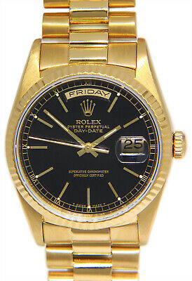 $ CDN23286.73 • Buy Rolex Day-Date President 18k Yellow Gold Black Index Dial Mens 36mm Watch 18238