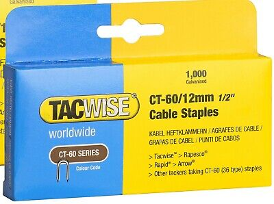 £4.55 • Buy  Tacwise CT-60/12mm  Cable Tacker Staples (Box Of 1000 )  0355