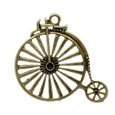 £3.25 • Buy Penny Farthing Bicycle Bike Pendant Antique Bronze Vintage Style Charm 50mm