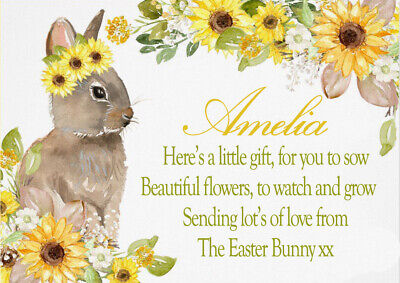 Personalised From Easter Bunny Gift Sunflower Seeds, Kids Party • 1.50£