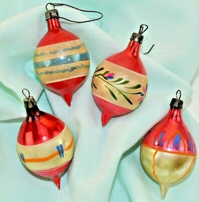 $ CDN21.87 • Buy Vintage Small Hand Painted Electric Red Christmas Ornaments Mercury Glass Balls