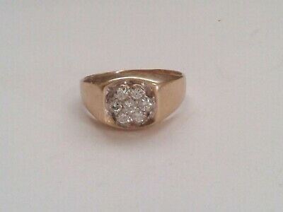 $699 • Buy Mens Real 14k And Diamond Cluster Ring .50 TCW Solid 14k Yellow Gold. Sz 11.5