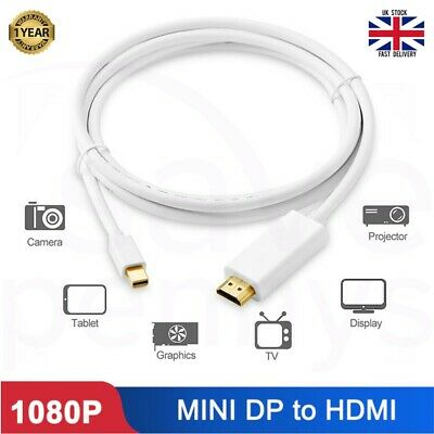 2m Mini DisplayPort DP To HDMI Male Thunderbolt Adapter Cable For MacBook 1080P • 3.95£