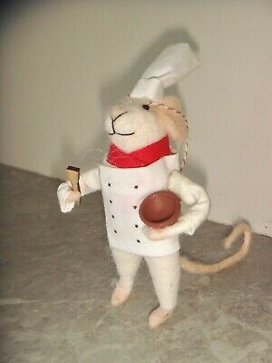 £8.99 • Buy New Pin Felt Needle Felted Collectible White Chef Mouse & Bowl Figure Gift