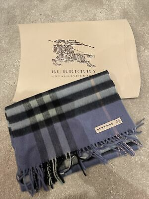 £270 • Buy NEW Burberry 100% Cashmere Scarf Blue And Black Check