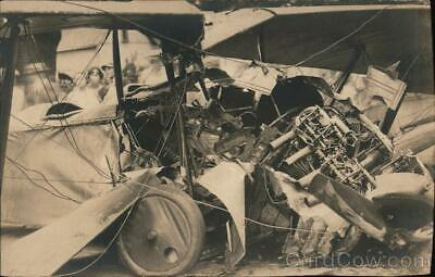 £25.05 • Buy Aircraft RPPC Remains Of A Crashed Bi-plane Real Photo Post Card Vintage