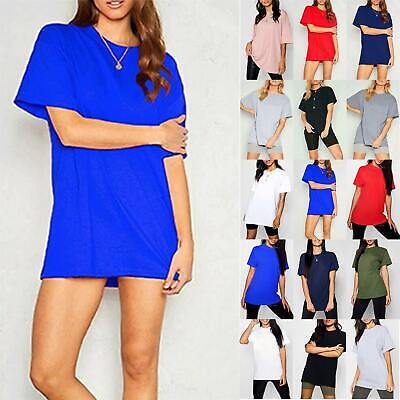 £4.99 • Buy Ladies Womens Baggy Oversized Plain Stretchy Jersey Casual Basic T Shirt Tee Top