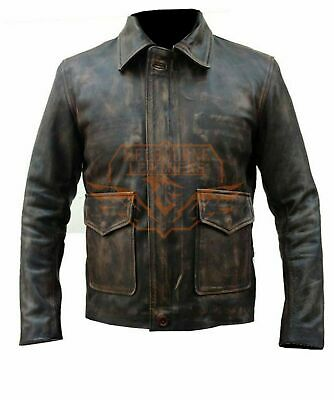 Indiana Jones Harrison Ford Genuine Real Distressed Leather Jacket XS S M L XL • 85.54£