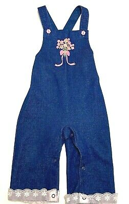 AU18.49 • Buy GROOVY CUTE Vtg.70's Carter's Toddler 24 Mo. Flower Embroidered Bib Overalls